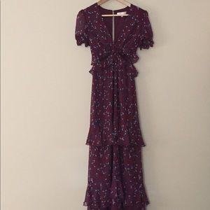 NWOT WAYF Burgundy Floral Dress Size XS